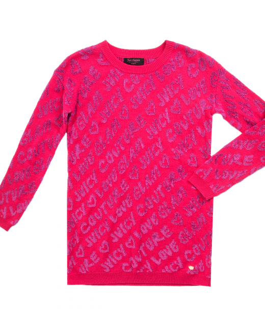 JUICY COUTURE KIDS – Κοριτσίστικο φόρεμα JUICY COUTURE LOVE GLAM ροζ-μοβ c6ca8714a2a